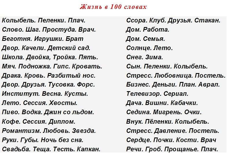 Жизнь в 1 словах - Netlore ru